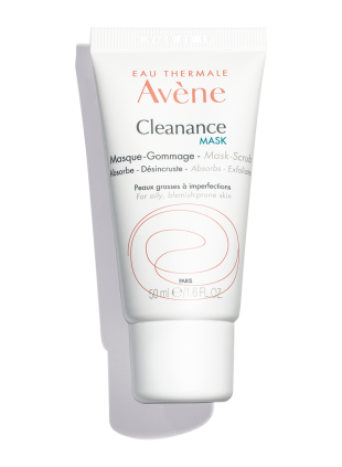 Cleanance Mask, a scrub mask that cleanses, exfoliates pores, and reduces appearance of blemishes. For acne-prone skin.