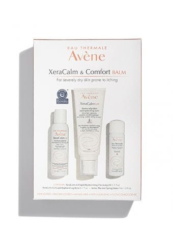 Avene XeraCalm & Comfort Regimen for eczema-prone skin. Kit inclues cleansing oil, balm, and Thermal Spring Water.