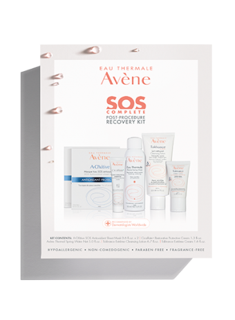 SOS Complete Post-Procedure Recovery Kit: Thermal Spring Water, cleansing lotion, resotrative protective cream, and sheet mask.