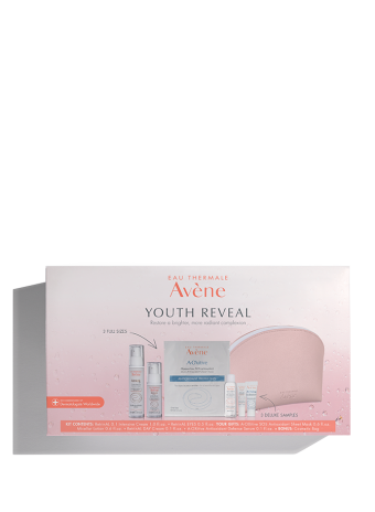 Youth Reveal Regimen Set for anti-aging, includes Micellar Lotion, sheet mask, Retrinal Day Cream, and eye cream.