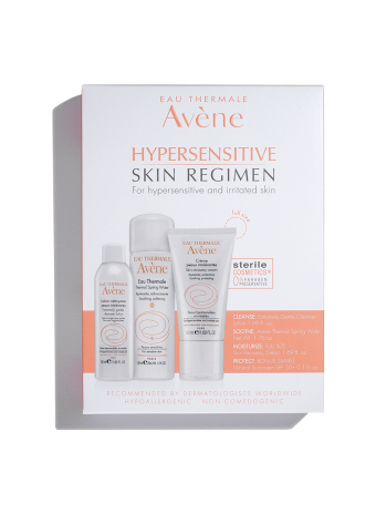 Hypersensitive Skin kit, includes Extremely Gentle Cleanser Lotion, Thermal Spring Water, and Skin Recovery Cream.