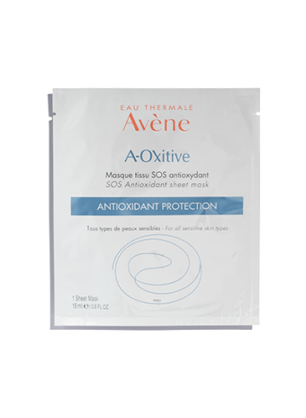 A-OXitive SOS Antioxidant Sheet Mask soothes and protects the skin. With Vitamins C and E.